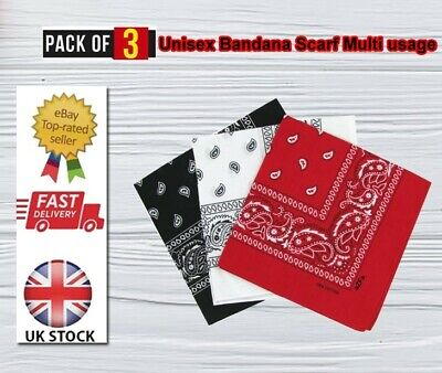 £3.99 • Buy 3 Pack RED/BLACK/WHITE 100% Cotton Paisley Bandana Scarf Headband Face Covering