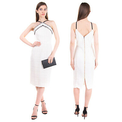 AU76.61 • Buy RRP €1235 ROLAND MOURET Pencil Dress Size 12 / L Woven Full Zip Back Made In UK