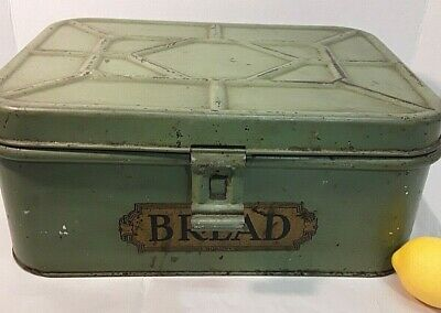 $56.50 • Buy Vintage Green Bread Keeper Tin Farm Country Kitchen Box Hinged Lid