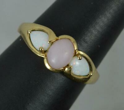 £225 • Buy 9 Carat Gold Pink Coral And Opal Trilogy