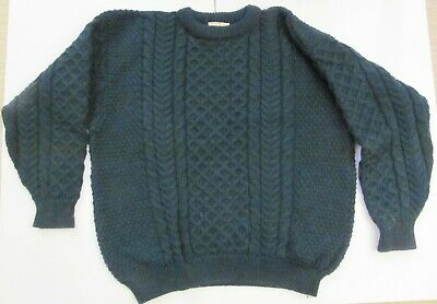 $45 • Buy LL Bean 100% Pure Wool Cable Knit Fisherman Sweater Green Ireland Men's L / XL