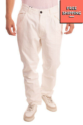 $1.43 • Buy LEVIATHAN Trousers Size 34 Ivory Embroidered Logo Zip Fly Regular Fit