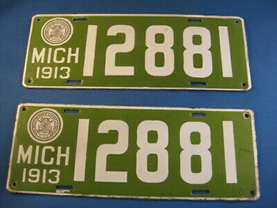 $ CDN472.07 • Buy Pair Of 1913 Michigan Porcelain License Plates Excellent Condition