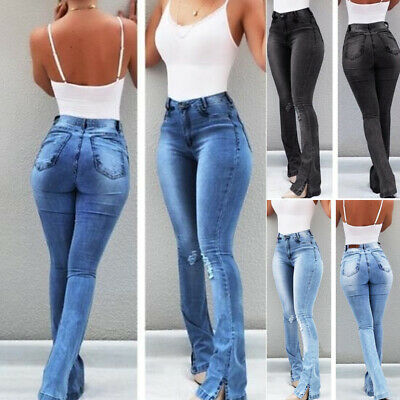 £18.09 • Buy Womens High Waisted Flared Jeans Ladies Bootcut Skinny Stretchy Denim Trousers