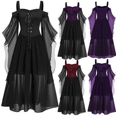 AU35.81 • Buy Womens Victorian Renaissance Medieval Long Dress Halloween Gothic Witch Costume