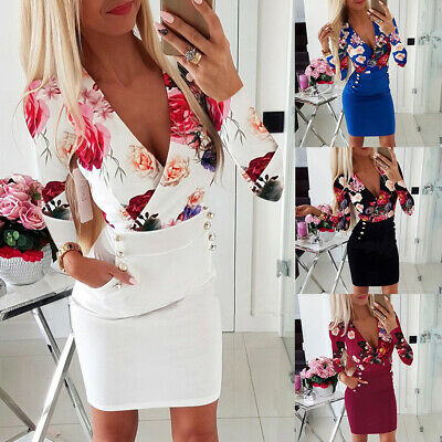 £7.19 • Buy Womens Sexy Floral Bodycon Dress Ladies Evening Party Long Sleeve Mini Dresses