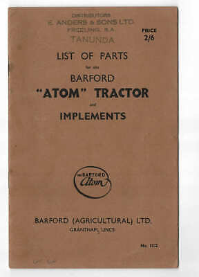 AU10 • Buy Original 1948 Barford Atom Tractor & Implements List Of Parts Catalogue