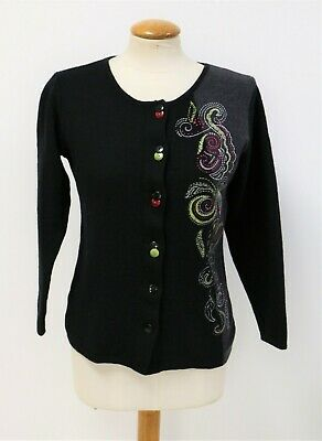 £10 • Buy Signature Experience Quality Wool Floral Embroidered Unique Button Cardigan M