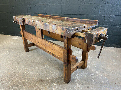 £615 • Buy Vintage Workbench With Two Vices. Kitchen Prep Island. Console Table.