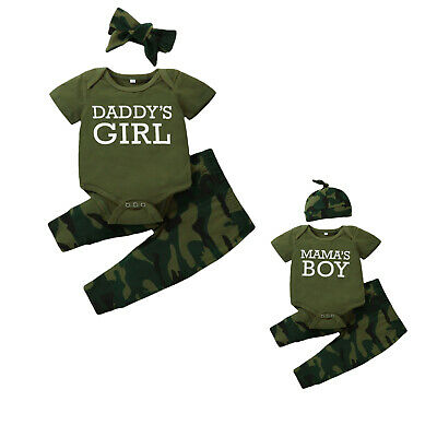 £9.99 • Buy Toddler Baby Girls Boys Twins Romper Camo Pants Sets Casual Tops Trouser Clothes