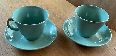 £6.25 • Buy Woods Ware Beryl Green Breakfast Cups And Saucers X2 Used