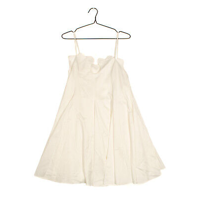 AU20.54 • Buy RRP €780 PAPER LONDON Shift Dress Size 12 Fully Lined Pleated Scalloped Neckline