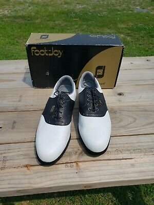 $60 • Buy Mens FootJoy DryJoy Golf Shoes Size 12M Black And White Leather Turf Mates