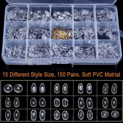 £5.48 • Buy 15 Sizes Silicone Nose Pads Screw Kit Spare Parts For Eyeglasses Sunglass Screws