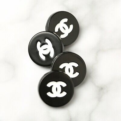 £29.09 • Buy Chanel Buttons STAMPED 4pc CC Black & White15mm Vintage Style 4 Buttons AUTH!!!