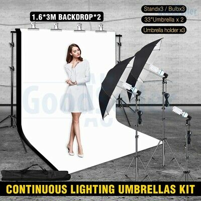 AU99.98 • Buy Studio Umbrella Reflector Continuous Lighting Stand Kit+2x Backdrops Support Set