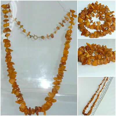 £18 • Buy Vintage Baltic Honey Butterscotch Graduated Amber Nugget Bead Necklace 39 Grams