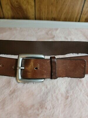 £1.45 • Buy Old Navy Thick Dark Brown Belt Size S Genuine Italian Leather Silver Tone Brass
