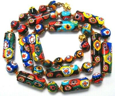 $40 • Buy Venetian Millefiori Colorful Glass Tube And Round Beaded Necklace~ 25 Inches