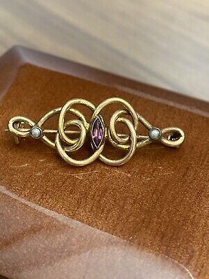 £18 • Buy Antique Victorian PinchBeck Brooch With Pearl And Amethyst Stones