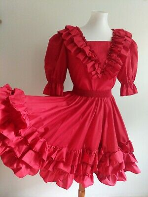 $66.15 • Buy Vintage MALCO MODES Square Dance Dress Top Skirt RED Ruffle Rockabilly S 6 8 EXC