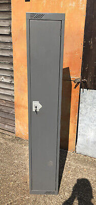 £40 • Buy Vintage Thin And Tall Grey Metal Cabinet, With Key - 180cm Height