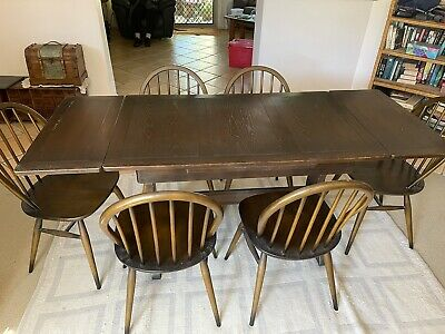 AU600 • Buy Vintage -1950's - 70s Ercol Extendable Dining Table And Windsor Chairs