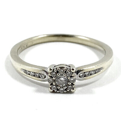 AU195 • Buy 9ct 375 White Gold Natural 0.30cts Diamond Halo Ring Size Q 1/2 - Plating Worn