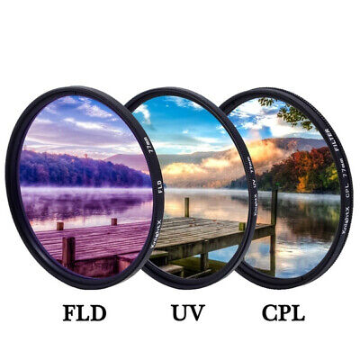 £9.59 • Buy 52mm-58mm Filters Set UV FLD CPL With Case For Camera Sony Canon Nikon Olympus