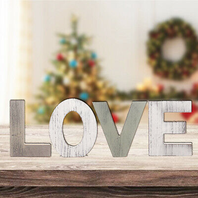 £14.59 • Buy Rustic Wooden Block Word Love Sign Freestanding Wooden Letters Home Decors Nice
