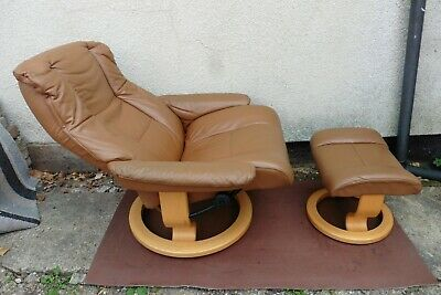 £325 • Buy Ekornes Stressless Leather Reclining / Swivel Arm Chair + Matching Foot Stool