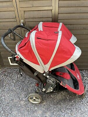 £40 • Buy Baby Jogger City Mini Red/Grey Standard Double Seat Pushchair