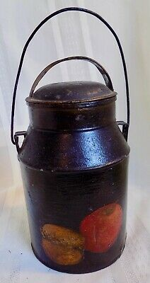 $ CDN62.93 • Buy Antique PRIMITIVE Tole HAND PAINTED & DECOPAUGE Small MILK CAN Signed By Artist