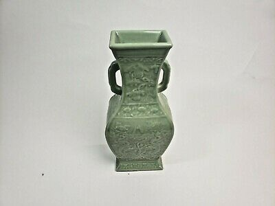 £7.96 • Buy Antique Large  Chinese Celadon Vase With Dragons, Handles, Republic Period