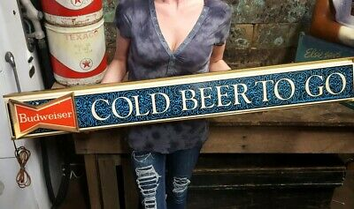 $ CDN566.48 • Buy 1969 Rare Budweiser Bowtie  Cold Beer To Go  Lighted Beer Bar Sign