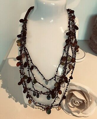 £9.99 • Buy Indie Stone Jelly Bean Look Agate Multi Coloured Layered Necklace 🌺 Unusual VGC