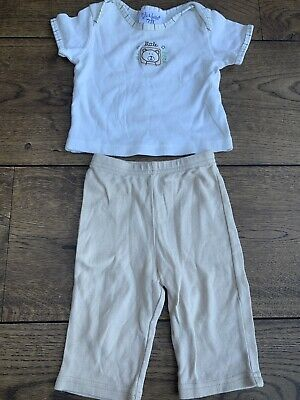 £2.50 • Buy Baby Boys Age 3-6 Months Kyle & Deena Top And Bottoms Soft Cream And Beige Bear