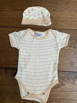 £1 • Buy Kyle & Deena Age 3-6 Months Hat And Babygrow Striped Beige And Green