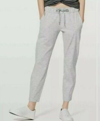 $ CDN57.91 • Buy LULULEMON On The Fly Crop Pant Grey White Stripes Womens Sz 8 Excellent!