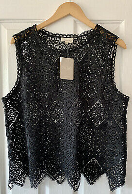 $ CDN34.60 • Buy Anthropologie Deletta Black Lace Embroidered Top L Large New