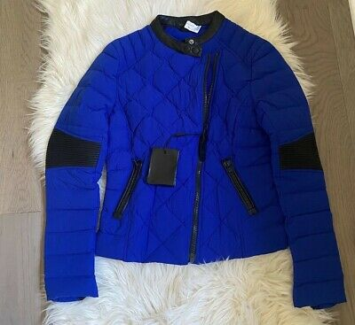 $275.99 • Buy NEW Womens XS MACKAGE Zelie Puff Quilted Light Down Moto Leather Jacket Blue