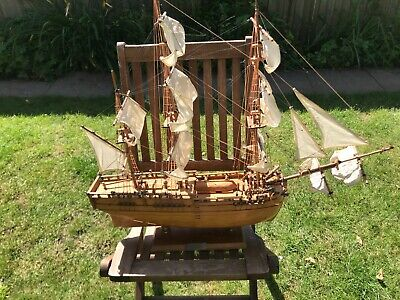 £40 • Buy Large Wooden Endeavour Sailing Ship 31 Inches