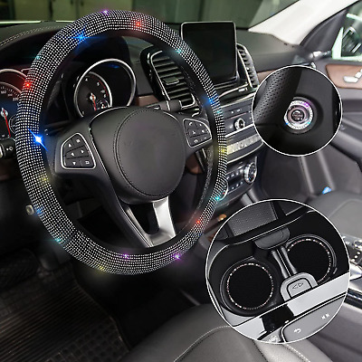$17.87 • Buy WELLVO 4 Pack Bling Car Accessories Set, Bling Steering Wheel Cover For Women,