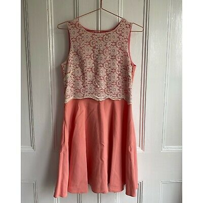 £4.99 • Buy River Island Coral Dress Size 10 White Lace Peach Pink Skater Skirt Wedding