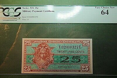 $10.20 • Buy Military Payment Certificate  25 Cents  Series 521   PCGS Very Choice New 64