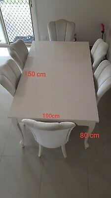 AU25 • Buy Istikbal Brand Extendable Dining Table 8 Chairs Used Good Condition Off White