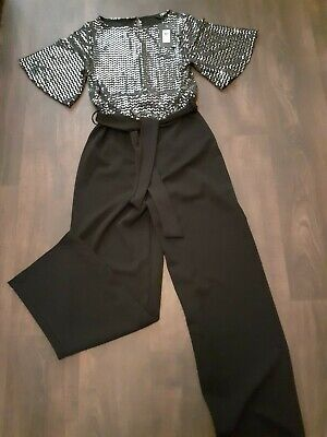 £20 • Buy Ladies Trouser Jumpsuit Black Silver 10 12 Party Evening Cocktail All In One