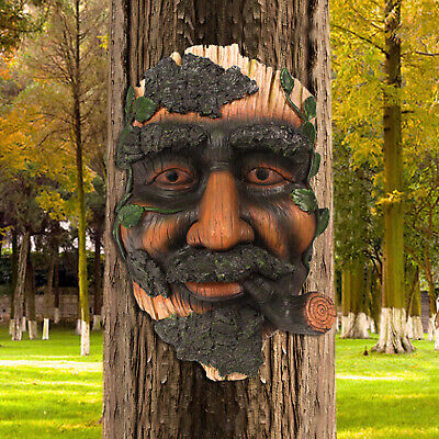 £24.31 • Buy Old Man Tree Face Resin Sculpture, Flower Pot 16.5x9.5x23cm Hand Painted Tree