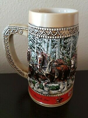 $ CDN12.47 • Buy 1987 Budweiser Clydesdale Collector Holiday Beer Stein  C  Series Anheuser Busch