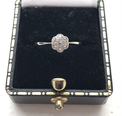 £150 • Buy Beautiful Art Deco 18ct Gold And Diamond Flower Engagement Ring Size K 1/2